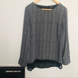 The Limited Black & White Gauzy Checked Top
